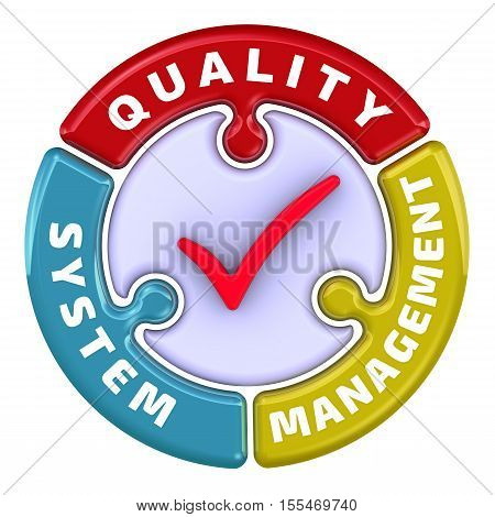 """Quality system management. The check mark in the form of a puzzle. The inscription """"QUALITY SYSTEM MANAGEMENT"""" on the puzzle in the shape of a circle and red check mark. 3D Illustration. Isolated"""