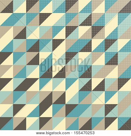 Geometric pattern in vintage colors with halftone effect on a separate layer for easy editing