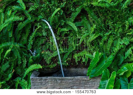 Outdoor wooden sink for washing hand on brick wall decorated with fern.