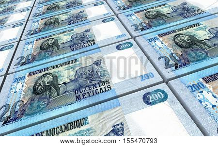 Mozambican meticais bills stacked background. 3D illustration.