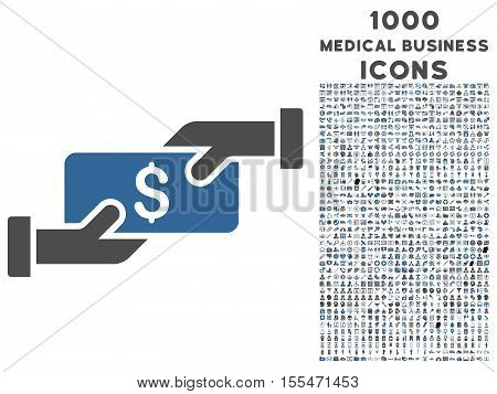 Payment vector bicolor icon with 1000 medical business icons. Set style is flat pictograms, cobalt and gray colors, white background.