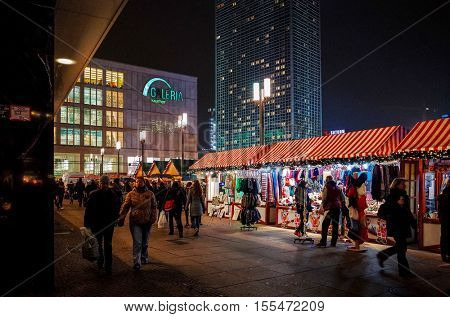 BERLIN, GERMANY- December 4: Typical Street view December 4, 2014 in Berlin, Germany. Berlin is the capital of Germany. With a population of approximately 3.5 million people.BERLIN, GERMANY