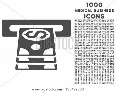 Bank Cashpoint vector icon with 1000 medical business icons. Set style is flat pictograms, gray color, white background.