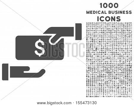 Bribe vector icon with 1000 medical business icons. Set style is flat pictograms, gray color, white background.