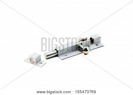 Door steel pad bolt isolated on white background