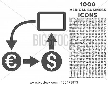 Cashflow Euro Exchange vector icon with 1000 medical business icons. Set style is flat pictograms, gray color, white background.