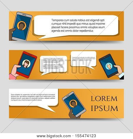 Chating icons colorful horizontal banners template vector illustration