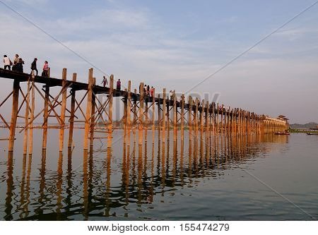Ubein Bridge In Mandalay, Myanmar