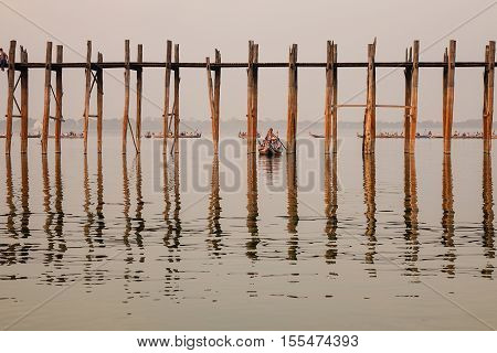 Ubein Bridge In Mandalay, Myanmar