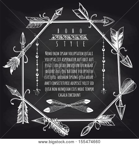 Boho style frame with feathers arrows and beads. Barbarian frame design on chalkboard vector illustration