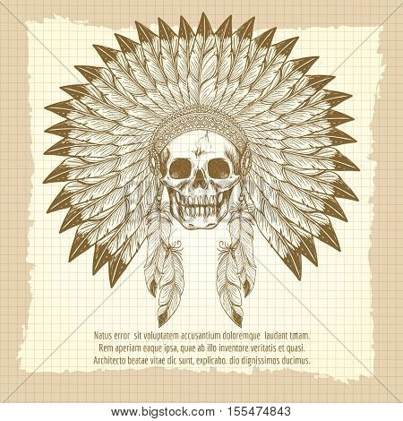 Vintage poster with men skull in feathers headdress vector illustration
