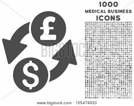 Dollar Pound Exchange vector icon with 1000 medical business icons. Set style is flat pictograms, gray color, white background.