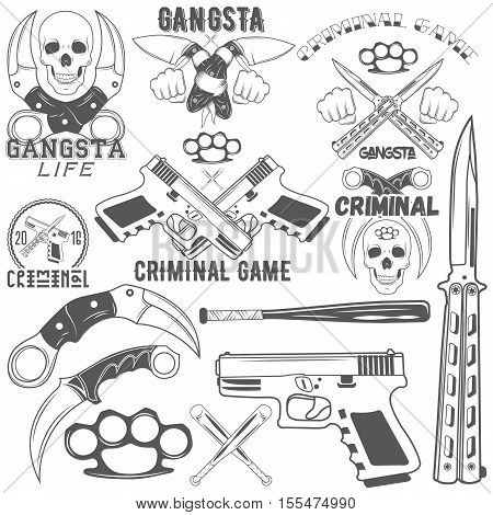 Set of agressive gang and criminal logotypes. Skulls, crossed knives and pistols, baseball bats, brass knuckles, sample text. Flat graphic style vector image.
