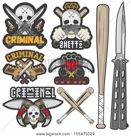 Set of agressive gang and criminal badges. Skulls, crossed knives, pistols and baseball bats, sample text. Flat graphic style vector image.