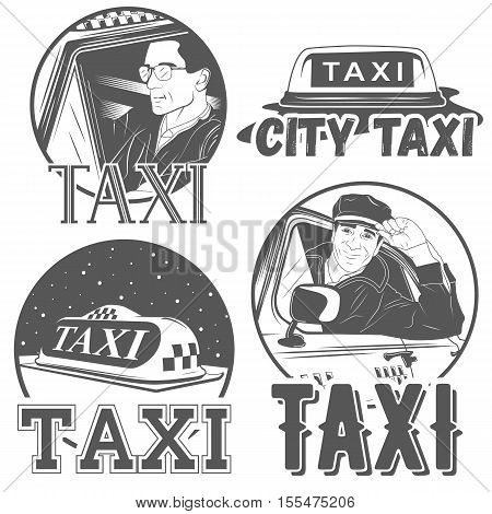 Set of four city taxi badges. Abstract car with driver, traditional taxy symbol, sample text. Graphic vintage style vector illustration.