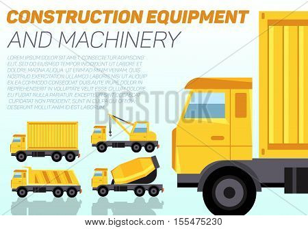 Web banner with construction machinery and sample text. Four trucks cargo container, crane, tipper and concrete mixer. Flat style vector illustration.