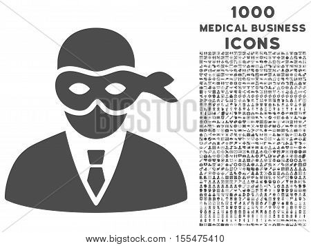 Masked Thief vector icon with 1000 medical business icons. Set style is flat pictograms, gray color, white background.