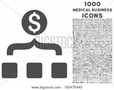 Money Aggregator vector icon with 1000 medical business icons. Set style is flat pictograms, gray color, white background.