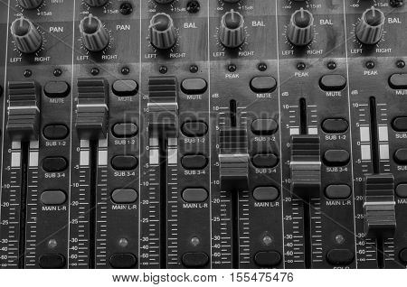 Live Sound Mixers and music studio equalizer, equip  event, hand