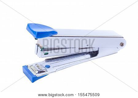 Office tool blue staplers on white background.