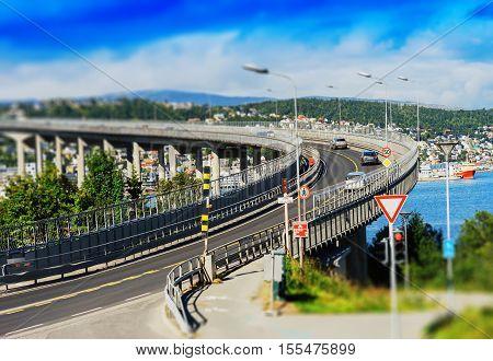 Tromso lacet transport bridge tilt-shifted background hd
