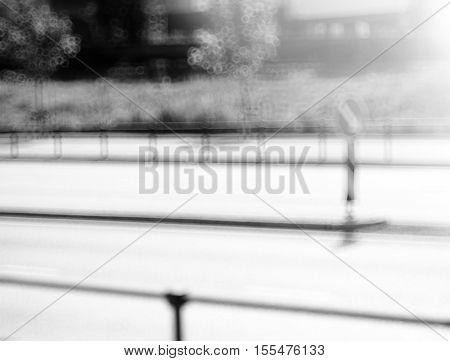 Black and white U turn sign bokeh background hd