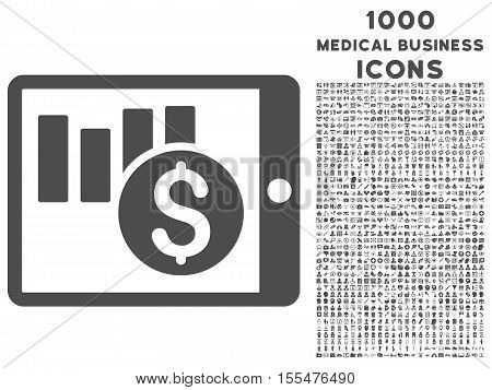 Sales Chart on Pda vector icon with 1000 medical business icons. Set style is flat pictograms, gray color, white background.