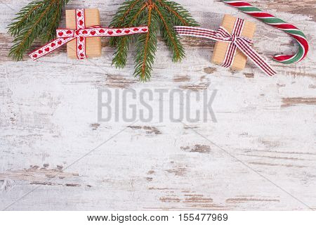 Gift For Christmas Or Valentines, Candy Cane And Spruce Branches