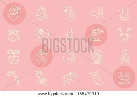 Set of decorative sketch icons for christmas greeting cards. Hand drawn christmas sketch icon set. Vector sketch icons isolated on pink background.