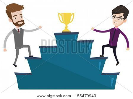 Two businessmen competing to get golden trophy. Two competitive businessmen running up for the winner cup. Business competition concept. Vector flat design illustration isolated on white background.