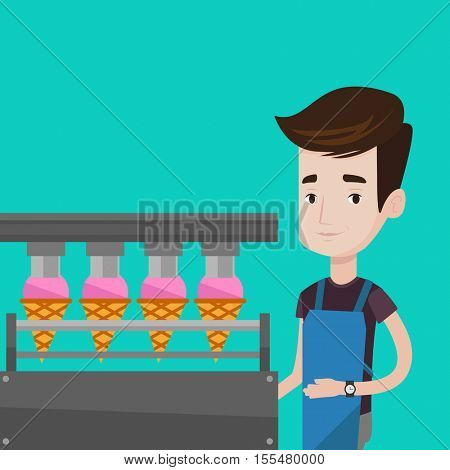Caucasian worker of ice cream manufacture. Worker of factory producing ice-cream. Young confectioner working on automatic production line of ice cream. Vector flat design illustration. Square layout.