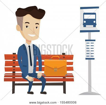 Caucasian businessman with briefcase waiting for a bus at the bus stop. Businessman sitting at the bus stop. Man sitting on bus stop bench. Vector flat design illustration isolated on white background