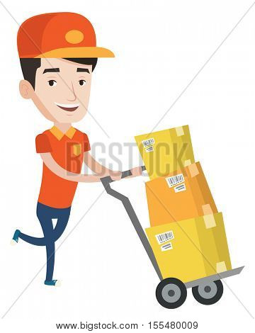 Young delivery postman with boxes on trolley. Delivery postman pushing trolley with cardboard boxes. Delivery postman delivering parcels. Vector flat design illustration isolated on white background.