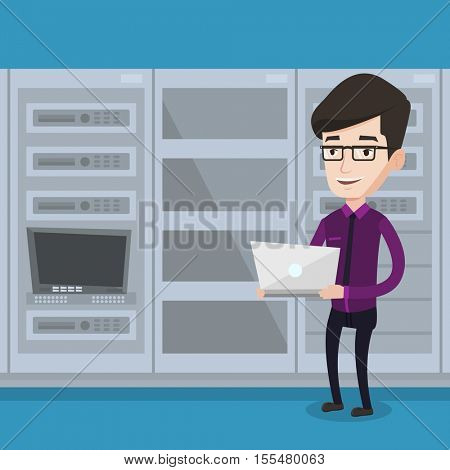 Caucasian engineer with laptop working in network server room. Engineer standing in network server room. Network engineer using laptop in server room. Vector flat design illustration. Square layout.