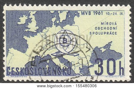 MOSCOW RUSSIA - CIRCA OCTOBER 2016: a stamp printed in CZECHOSLOVAKIA shows the Map of Europe and Fair Emblem the series