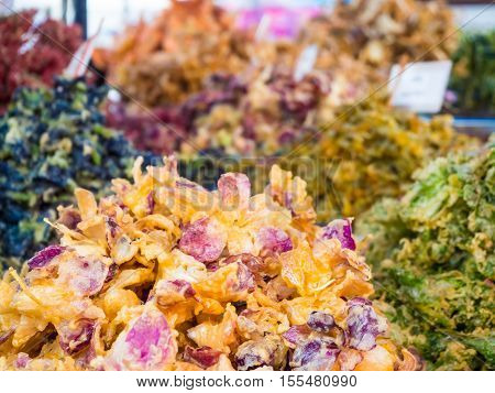 Deep Fried Vegetables And Flowers.