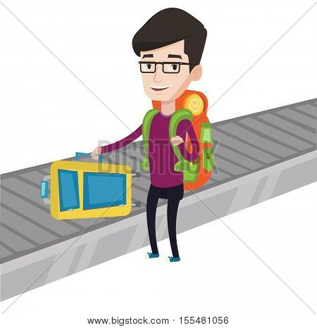 Caucasian man picking up suitcase on luggage conveyor belt. Man collecting luggage at conveyor belt. Man taking luggage at conveyor belt. Vector flat design illustration isolated on white background.