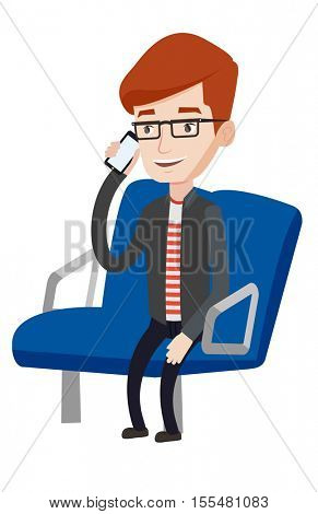 Man using mobile phone while traveling by public transport. Man talking on mobile phone in public transport. Man traveling by public transport. Vector flat design illustration isolated on background.