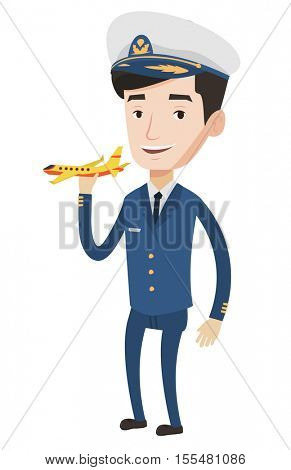 Caucasian airline pilot holding a model airplane in hand. Cheerful airline pilot in uniform. Confident pilot. Pilot with model airplane. Vector flat design illustration isolated on white background.