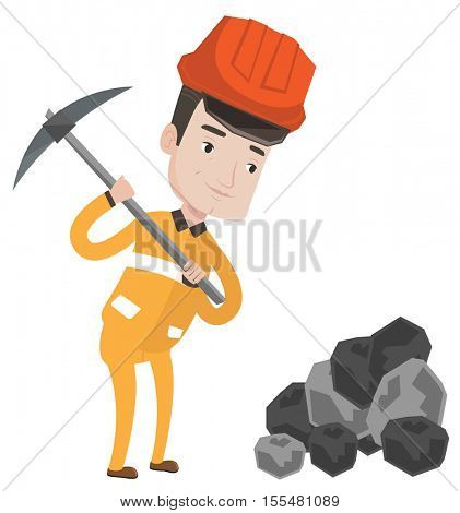 Caucasian miner in hard hat working with a pickaxe. Miner working at the coal mine. Young miner at work. Vector flat design illustration isolated on white background.