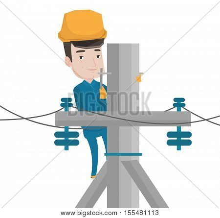 Caucasian electrician working on electric power pole. Electrician at work on electric power pole. Electrician repairing electric power pole.Vector flat design illustration isolated on white background