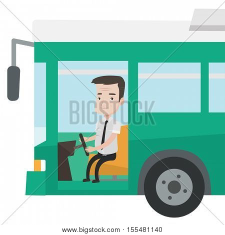 Caucasian bus driver sitting at steering wheel. Smiling bus driver driving passenger bus. An adult bus driver in drivers seat in cab. Vector flat design illustration isolated on white background.