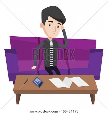 Unhappy caucasian man calculating home bills. Young man accounting costs and mortgage for paying home bills. Man analyzing home bills. Vector flat design illustration isolated on white background.