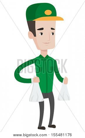 Delivery man delivering online shopping order. Delivery man carrying packages with groceries. Caucasian delivery man delivering groceries. Vector flat design illustration isolated on white background.