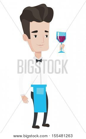 Bartender holding a glass of wine in hand. Bartender at work. Bartender looking at glass of red wine. Bartender examining wine in glass. Vector flat design illustration isolated on white background.