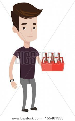 Young happy man holding pack of beer. Full length of cheerful man carrying a six pack of beer. Caucasian man buying beer. Vector flat design illustration isolated on white background.