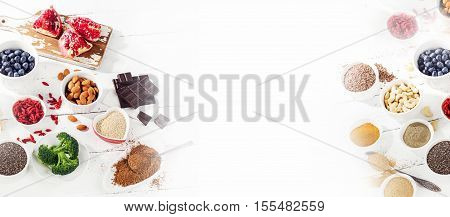 Super Foods On White Background.  Healthy Food.