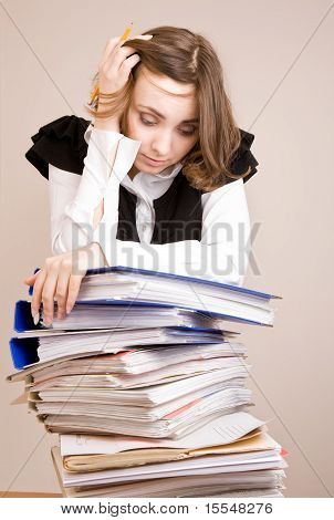 Tired secretary with a lot of documents poster