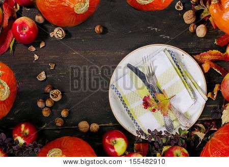 Autumn Pumpkins, Apples  And Nuts
