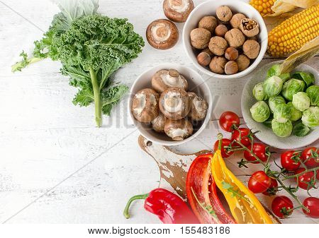Balanced Diet Food Concept. Fruits, Vegetables On Wooden Table.